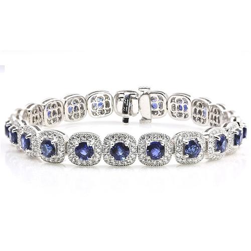 7.00 Ct Blue Sapphire halo Bracelets Bracelets 18K-White Gold