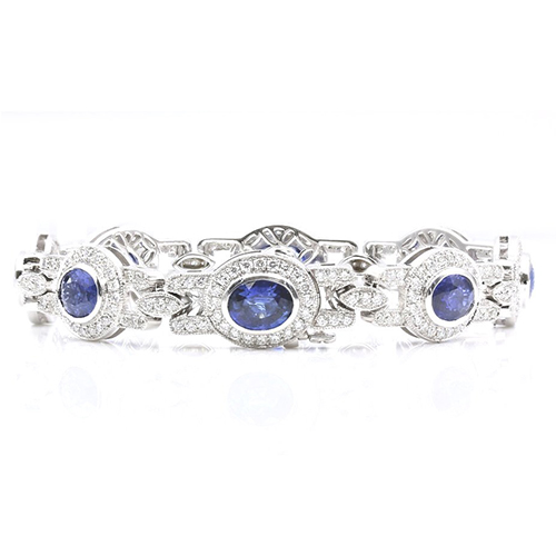 Vintage Blue Sapphire halo Bracelets Bracelets