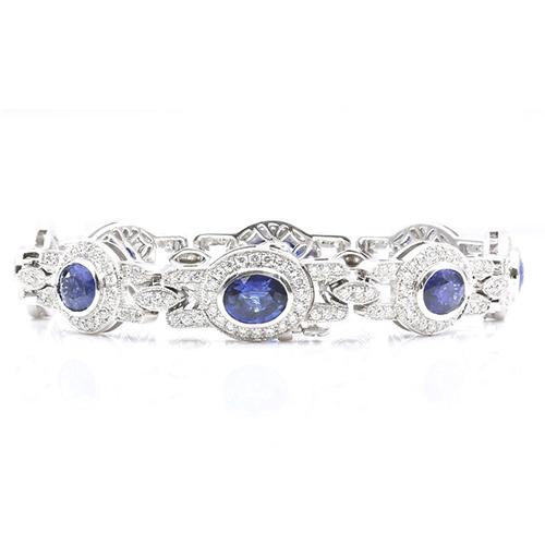 6.00 Ct Vintage Blue Sapphire halo Bracelets Bracelets 18K-White Gold