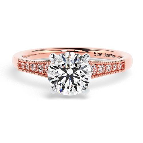 Round Brilliant Cut Contemporary Milgrain Diamond Pave Engagement Ring