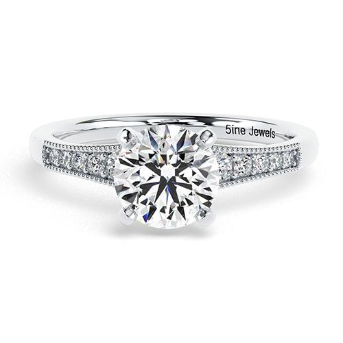 Round Brilliant Cut Contemporary Milgrain  Side Stone  Engagement Ring