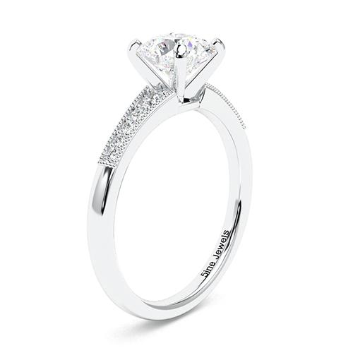 1.15 Ct SI2 G Round Brilliant Cut Contemporary Milgrain Diamond Pave Engagement Ring 18K-White Gold