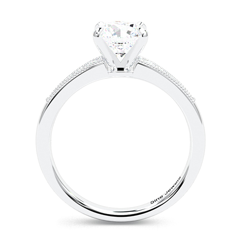 1.15 Ct SI2 G Round Brilliant Cut Contemporary Milgrain Diamond Pave Engagement Ring 18K-White Gold