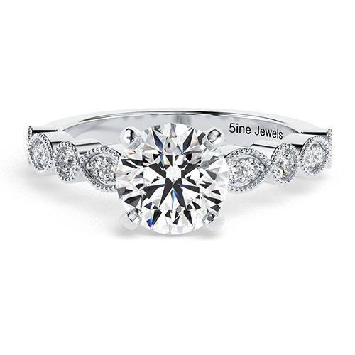 Round Brilliant Cut Vintage Milgrain  Side Stone  Engagement Ring