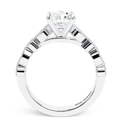 1.30 Ct VS2 F Round Brilliant Cut Vintage Milgrain Diamond Pave Engagement Ring 18K-White Gold