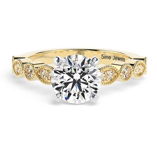 Round Brilliant Cut Vintage Milgrain Diamond  Engagement Ring