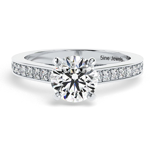 Round Brilliant Cut Simple Diamond Pave Engagement Ring
