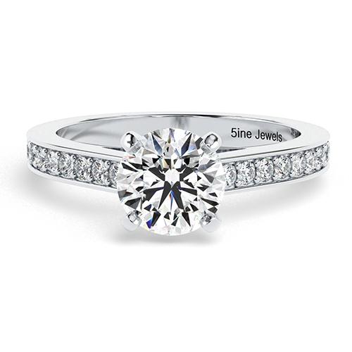 Round Brilliant Cut Simple Diamond Pave Engagement Ring