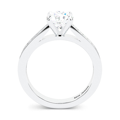 1.50 Ct SI2 G Round Brilliant Cut Simple Diamond Pave Engagement Ring 18K-White Gold