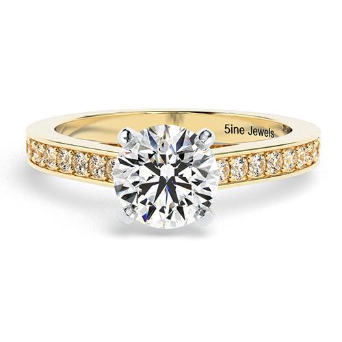 Round Brilliant Cut Simple Diamond  Engagement Ring
