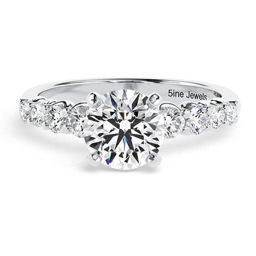 Round Brilliant Cut Graduated Diamond Pave Engagement Ring