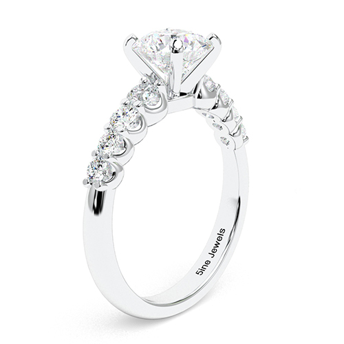 1.75 Ct SI1 H Round Brilliant Cut Graduated Diamond Pave Engagement Ring 18K-White Gold