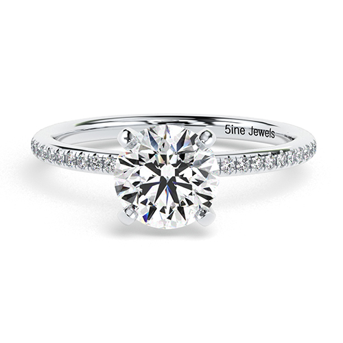 1.30 Ct SI2 G Round Brilliant Cut French Diamond Pave Engagement Ring 18K-White Gold