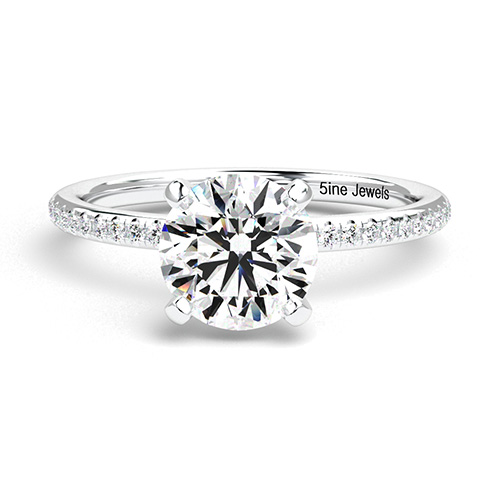 Round Brilliant Cut French  Side Stone  Engagement Ring