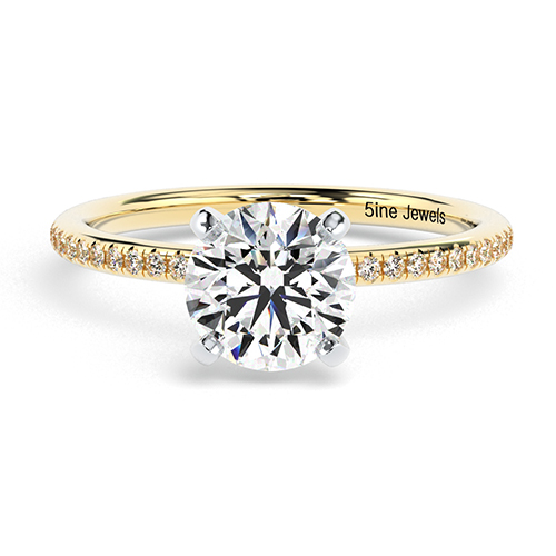 Round Brilliant Cut French Diamond  Engagement Ring