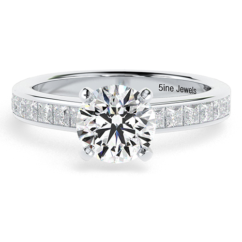 Round Brilliant Cut Channel Diamond Pave Engagement Ring 18K-White Gold