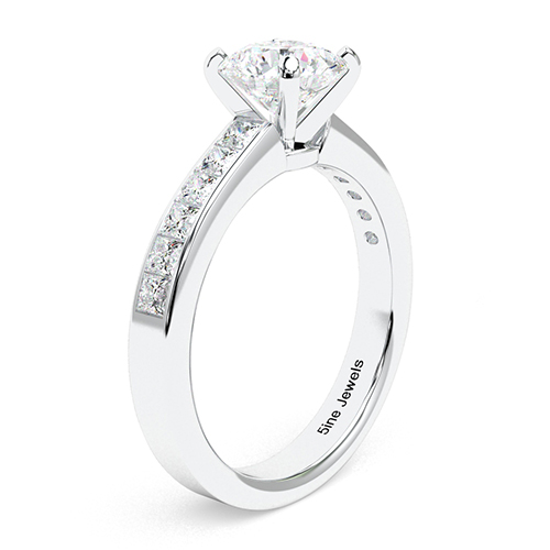 Round Brilliant Cut Channel  Side Stone  Engagement Ring