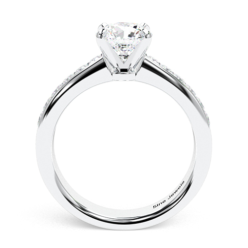 1.35 Ct SI1 H Round Brilliant Cut Channel Diamond Pave Engagement Ring 18K-White Gold