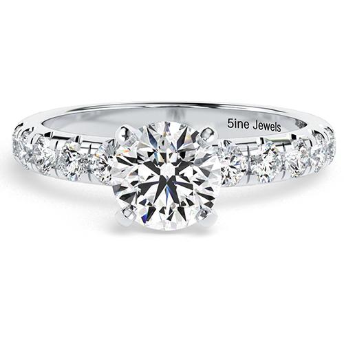 Round Brilliant Cut French Diamond  Engagement Ring