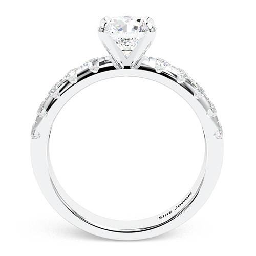 1.75 Ct SI2 G Round Brilliant Cut French Diamond Pave Engagement Ring 18K-White Gold