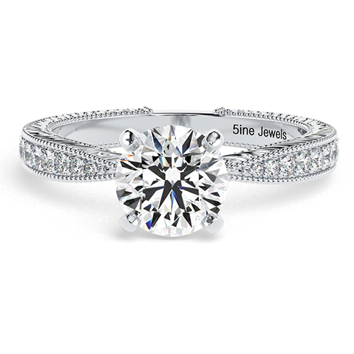 Round Brilliant Cut Hand Engraved  Side Stone  Engagement Ring