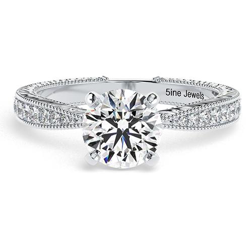 Round Brilliant Cut Hand Engraved Diamond  Engagement Ring