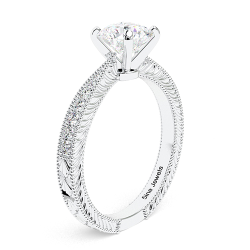 1.20 Ct SI1 G Round Brilliant Cut Hand Engraved Diamond Pave Engagement Ring 18K-White Gold