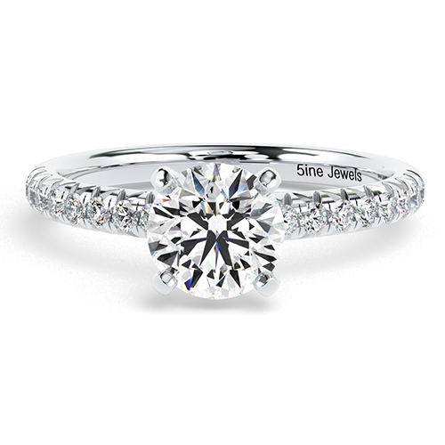 1.30 Ct SI1 G Round Brilliant Cut French Diamond Pave Engagement Ring 18K-White Gold