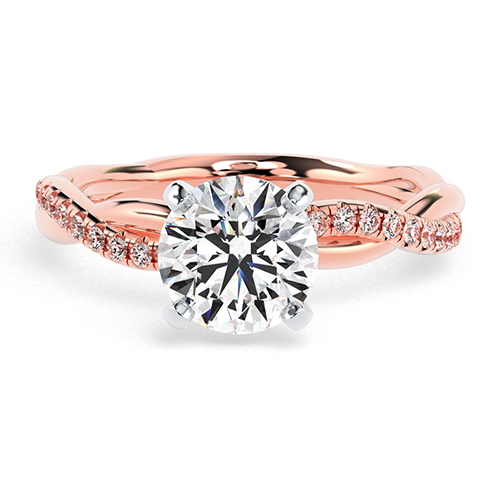 Round Brilliant Cut Twist Shank Diamond Pave Engagement Ring