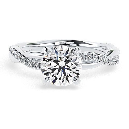 Round Brilliant Cut Twist Shank Diamond  Engagement Ring