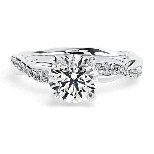 1.15 Ct SI2 G Round Brilliant Cut Twist Shank Diamond Pave Engagement Ring 18K-White Gold