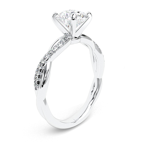 1.15 Ct SI2 G Round Brilliant Cut Twist Shank Diamond Pave Engagement Ring 18K-White Gold