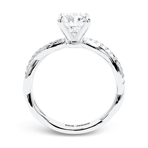 Round Brilliant Cut Twist Shank  Side Stone  Engagement Ring
