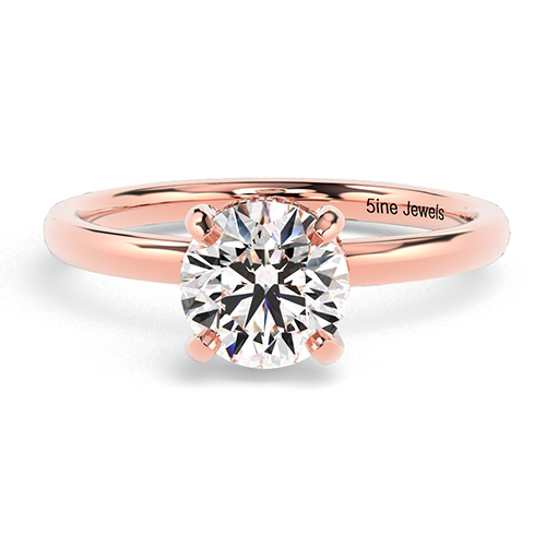 Round Brilliant Cut Collet Set  Side Stone  Engagement Ring
