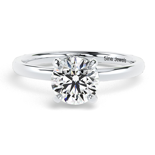 1.15 Ct SI2 H Round Brilliant Cut Collet Set Diamond Pave Engagement Ring 18K-White Gold