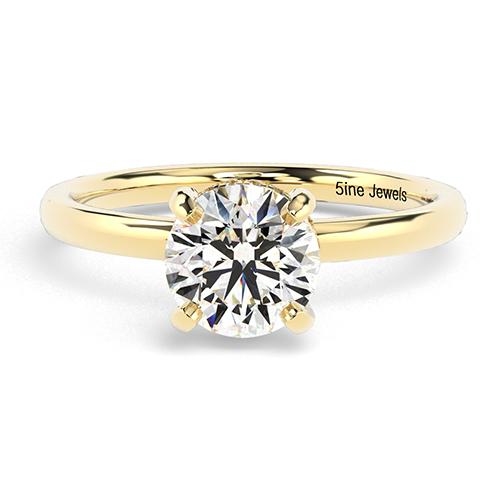 Round Brilliant Cut Collet Set Diamond Pave Engagement Ring