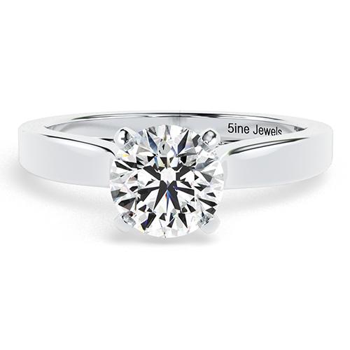Round Brilliant Cut Vintage Milgrain  Side Stone  Engagement Ring