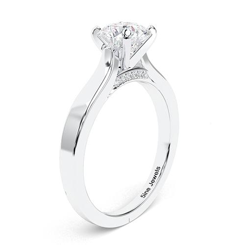 1.05 Ct VS2 G Round Brilliant Cut Vintage Milgrain Diamond Pave Engagement Ring 18K-White Gold