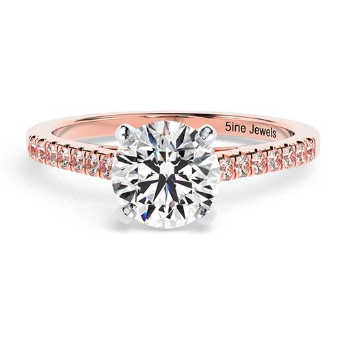Round Brilliant Cut Petite Diamond Pave Engagement Ring