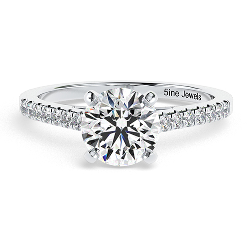 1.20 Ct SI2 F Round Brilliant Cut Petite Diamond Pave Engagement Ring 18K-White Gold