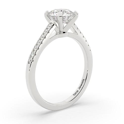 1.20 Ct SI2 F Round Brilliant Cut Petite Diamond Pave Engagement Ring 18K-White Gold