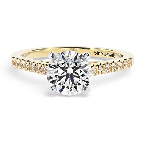Round Brilliant Cut Petite Diamond  Engagement Ring