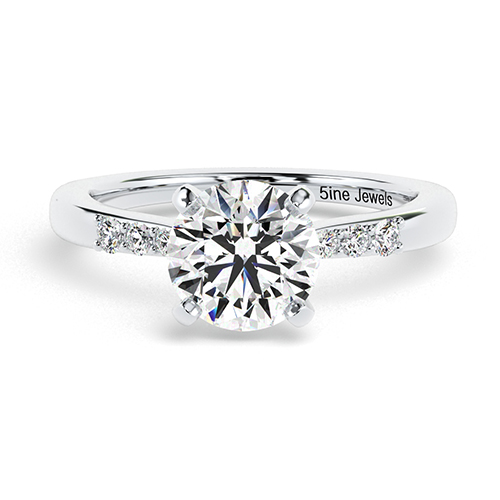 Round Brilliant Cut Petite Diamond Pave Engagement Ring 18K-White Gold