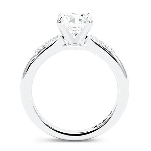 1.10 Ct SI2 H Round Brilliant Cut Petite Diamond Pave Engagement Ring 18K-White Gold