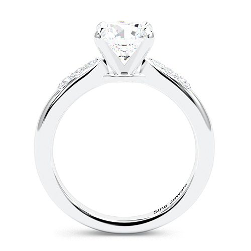 1.10 Ct SI2 H Round Brilliant Cut Petite Diamond Pave Engagement Ring 18K-White Gold