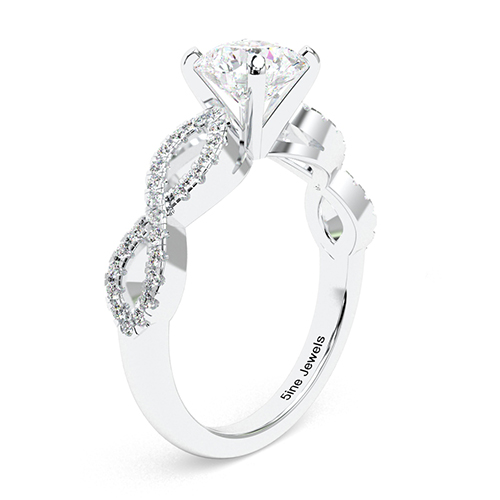 1.30 Ct SI1 G Round Brilliant Cut Twist Shank Diamond Pave Engagement Ring 18K-White Gold