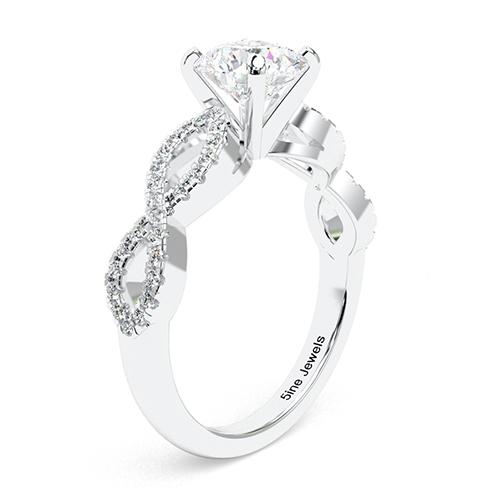 1.30 Ct SI1 G Round Brilliant Cut Twist Shank Diamond Pave Engagement Ring 18K-White Gold