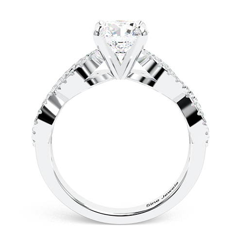 Round Brilliant Cut Twist Shank  Side Stone  Engagement Ring