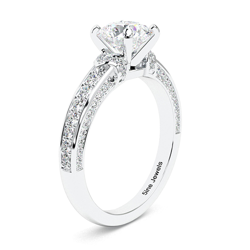Round Brilliant Cut Micro  Side Stone  Engagement Ring