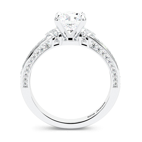 1.95 Ct SI2 G Round Brilliant Cut Micro Diamond Pave Engagement Ring 18K-White Gold